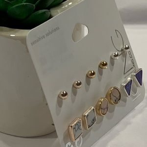 6 PAIRS ROSE GOLD, GOLD & SILVER POST EARRINGS!